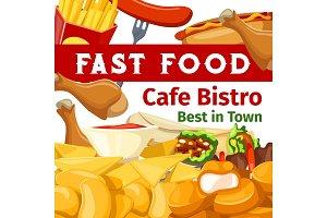 Menu for fast food cafe bistro