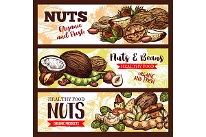 Banners of nuts and beans
