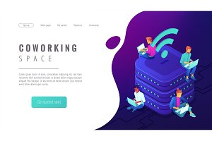 Isometric coworking space landing