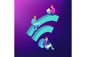Free WiFi hotspot isometric concept.
