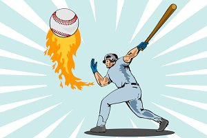 Baseball Player Batting Flaming Ball