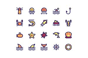 Maritime Filled Line Icons
