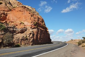 The American roads in the red rock d