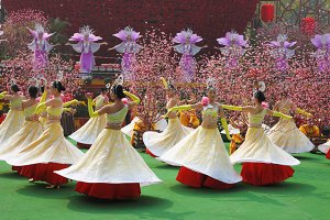Dance group of girls at the concert