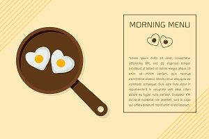 Fried egg on pan Vector illustration