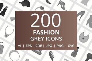 200 Fashion Grey Icons