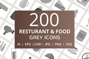 200 Restaurant & Food Grey Icons