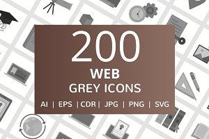 200 Web Grey Icons