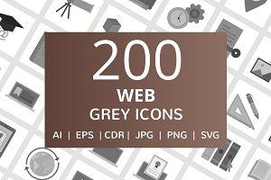 200 Web Grey Icons