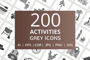 200 Activities Grey Icons