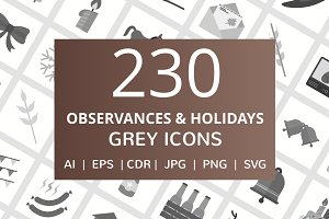 230 Observances & Holiday Grey Icons