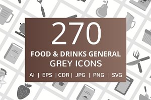 270 Food & Drinks General Grey Icons