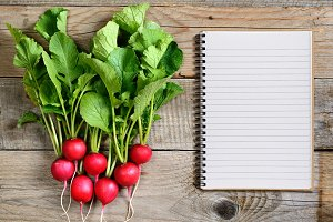 Fresh radish and recipe book