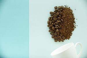 Coffee beans on paper blue