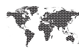 World map with dots black