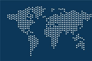 World map blue color with dots