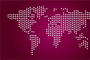 World map pink color vector