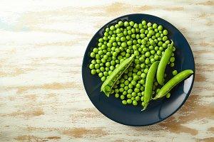 Fresh green peas close up