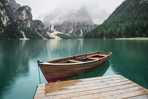 Lake and boat in the Italy