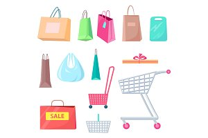 Sale Collection of Bags Carts Vector