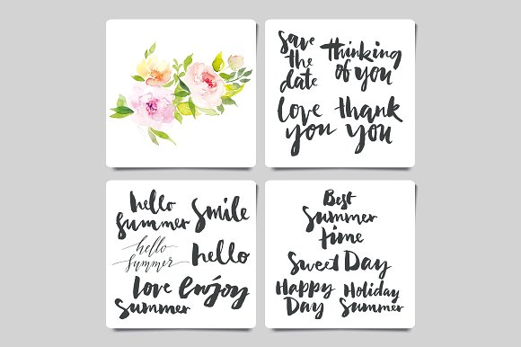 Set calligraphy and flower ~ Card Templates ~ Creative Market