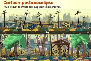 Cartoon postapocalipse parallax set