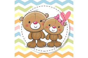 Greeting Card with Two cute Teddy