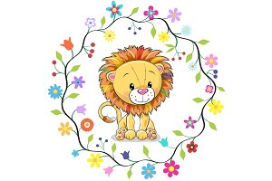 Cute Lion in a flowers frame