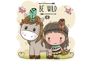 Cute Cartoon tribal girl and Horse