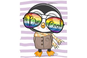 Cute Penguin with sun glasses