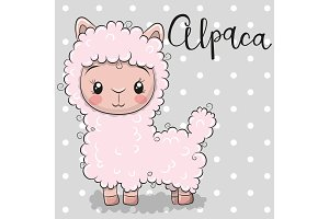 Cute Cartoon alpaca on a gray