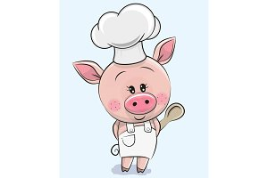 Cartoon Pig in a cook hat with spoon