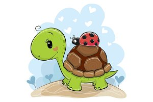Cute Cartonn Turtle with ladybug
