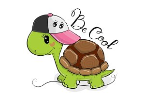 Cute Turtle with a pink cap