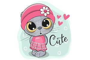 Cute Kitten girl on a blue