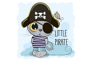 Cute cartoon Kitten in a pirate hat