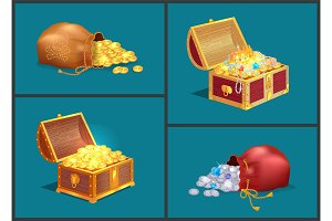 Bags with Coins and Wooden Chests of