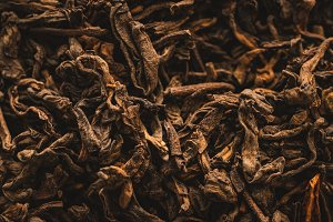 Macro of dried tea leaves