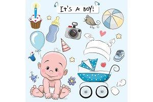 Set of baby design elements