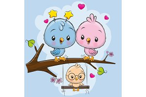 Two cute birds and a chick