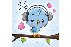 Cute Bird with headphones on a