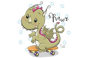 Cute Dragon with skateboard on a