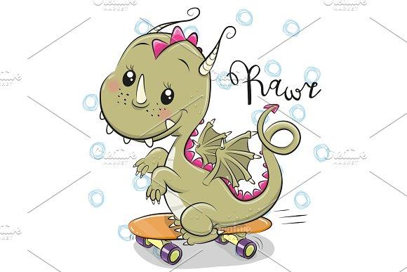 Cute Dragon with skateboard on a