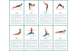 Yoga Postures Set, Sporty Woman