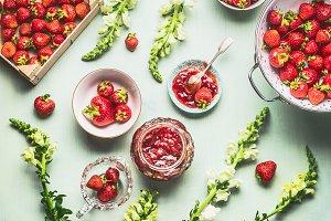 Homemade strawberries jam