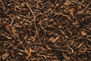 Dried tea leaves close-up