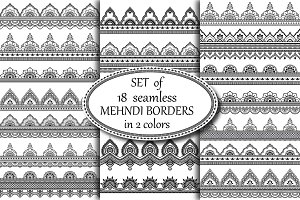 Set seamless Mehndi borders
