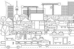 Monochrome Linear Cityscape Concept