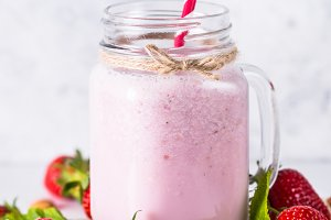 Strawberry milkshake or smoothie.