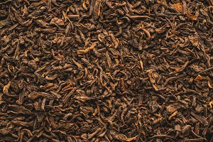 Dried black tea leaves texture